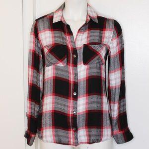 Rock & Republic Black Wht Red Plaid Flannel Top XS
